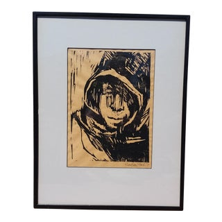 Signed 1967 Framed Wood Cut Print