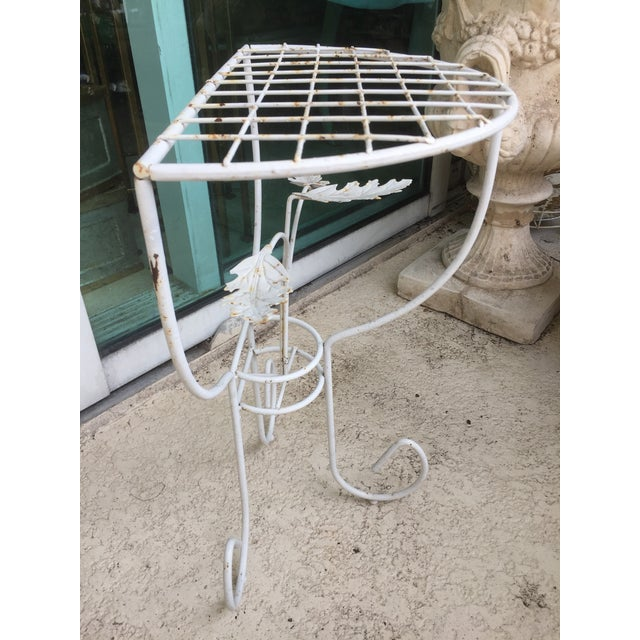 White Steel Mesh Coated Metal Demi-Lune Side Tables - a Pair For Sale - Image 4 of 6