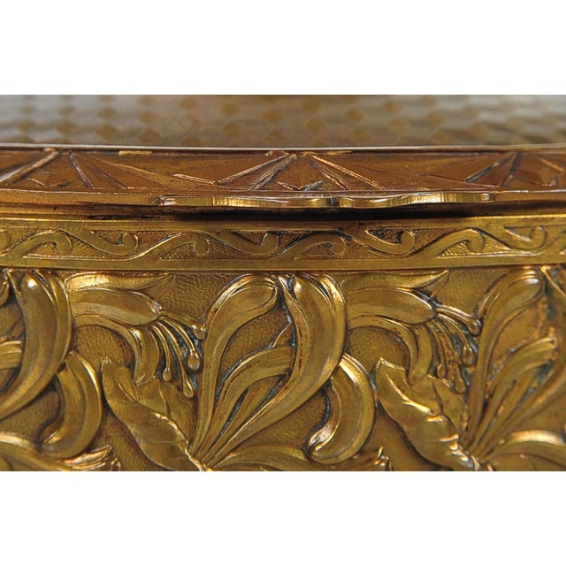 """19th C. Bronze & Enamel 5"""" Oval Jewelry Box For Sale - Image 4 of 9"""