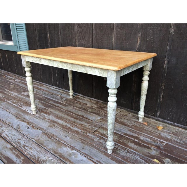 We love this large farm table. The oak top and distressed legs makes this a very appealing piece. This table is solid,...