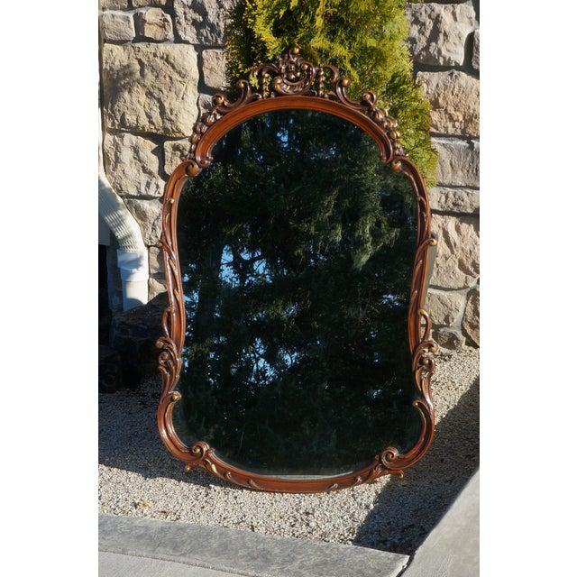 Brown Vintage French Provincial Carved Wood Framed Mirror For Sale - Image 8 of 8