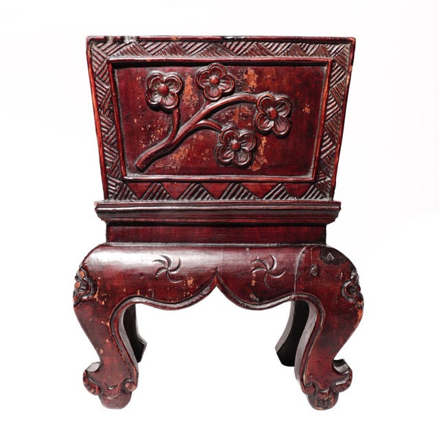 Wood Chinese Decorative Lacquered Wood Jardiniere For Sale - Image 7 of 7
