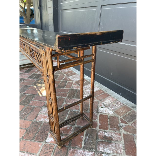 Chinoiserie Antique Bamboo Chinoiserie Console For Sale - Image 3 of 7