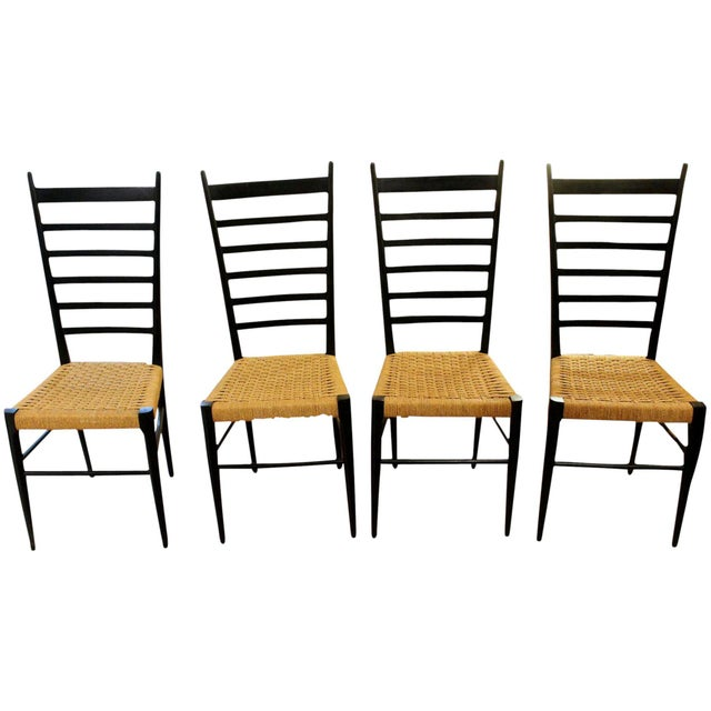 Ebony Gio Ponti Style Ladder Back Chairs - Set of 4 For Sale - Image 7 of 7