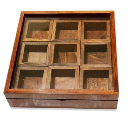 Wood Mid Century Shabby Chic Hand Made Indian Brown Teak Wood Box of Boxes Natural Organic Vintage Antique For Sale - Image 7 of 7