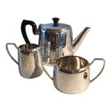 Image of 3 Piece English Hotel Silver Tea Set by Elkington For Sale