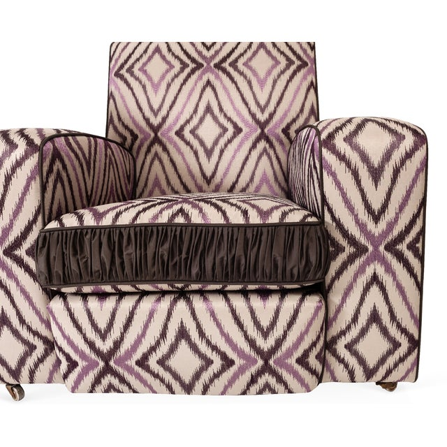 Art Deco Ikat Silk Fabric Club Chairs - A Pair For Sale - Image 4 of 4