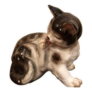Vintage Grooming Cat Feline Figurine For Sale