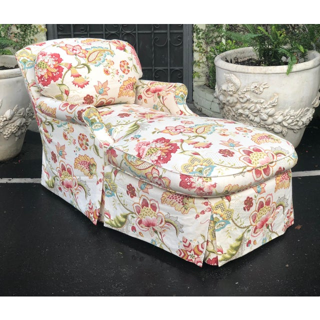 2000s Fine Designer Floral Upholstered Chaise Lounge For Sale - Image 5 of 5