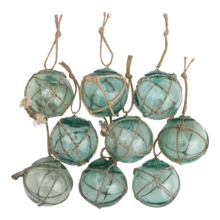 Nautical Fishing Float Ornaments, Set of 9 For Sale
