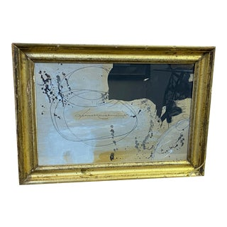 French Contemporary Black, White and Pink in Antique Frame For Sale