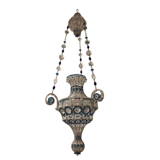 Mid-Century Modern 1940s French Art Modern Beaded Glass Lantern, Attributed to Baguès For Sale - Image 3 of 3