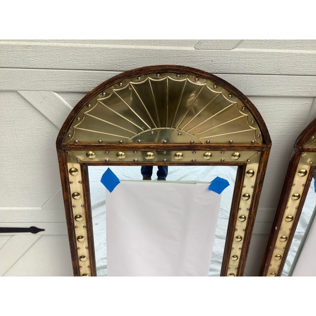 Pair of 1970s, brass trimmed mirrors, made in Italy for Sarreid.