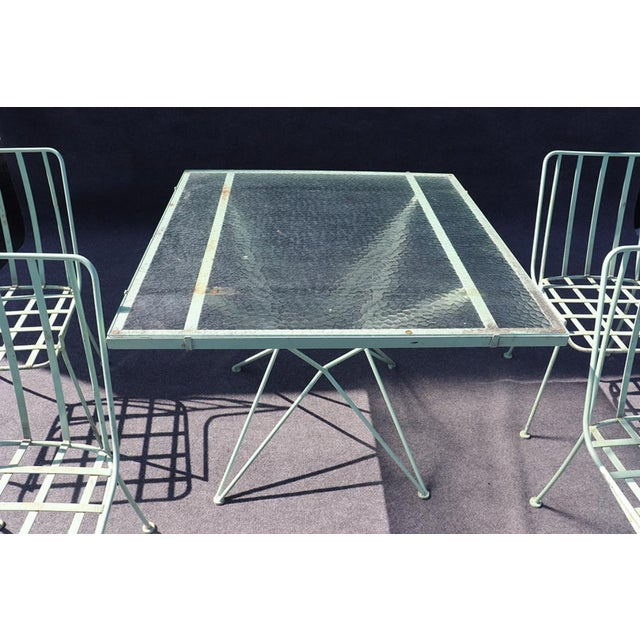 Mid 20th Century Woodard 5pc Atomic Style Wrought Iron Patio Set For Sale - Image 5 of 10