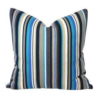 Jf Fabrics Cedar Blue Teal Striped Acrylic Pillow Cover For Sale