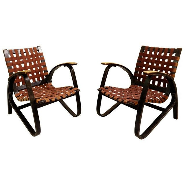 Black Pair of Bentwood Armchairs by Jan Vanek for Up Závody, 1930s For Sale - Image 8 of 8