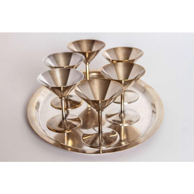 Art Deco silver plate cocktail set by WMF Germany Very elegant compact Bauhaus influenced set. Excellent construction...