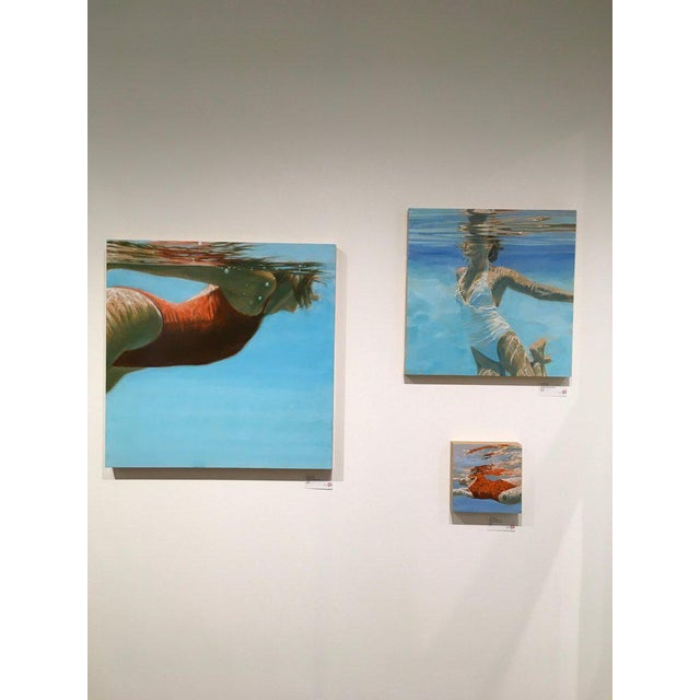 See Water is a figurative swimmer artwork. It is acrylic, oil and varnish on wood panel. Artwork is 32 x 32. Carol Bennett...