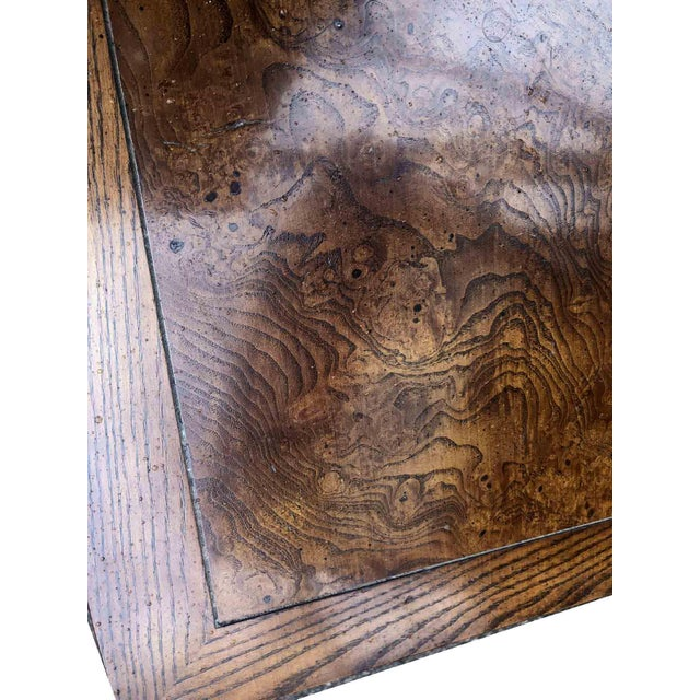 Henredon Henredon Campaign Parquetry Top Burl Walnut End Table For Sale - Image 4 of 6