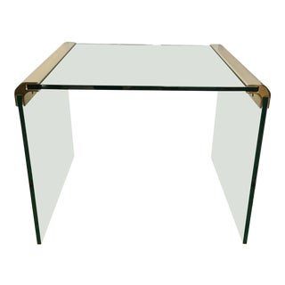 Mid Century Pace Collection Brass and Glass Waterfall End Table by Leon Rosen For Sale