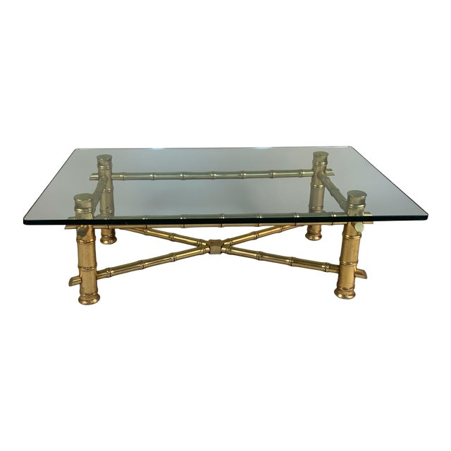 Vintage 1960s Gilded Bamboo and Glass Coffee Table For Sale