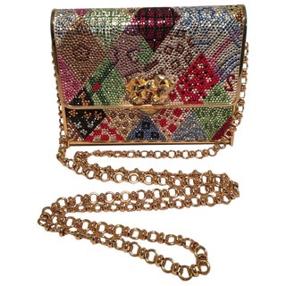 Judith Leiber Multicolor Swarovski Crystal Top Flap Box Minaudiere Evening Bag For Sale