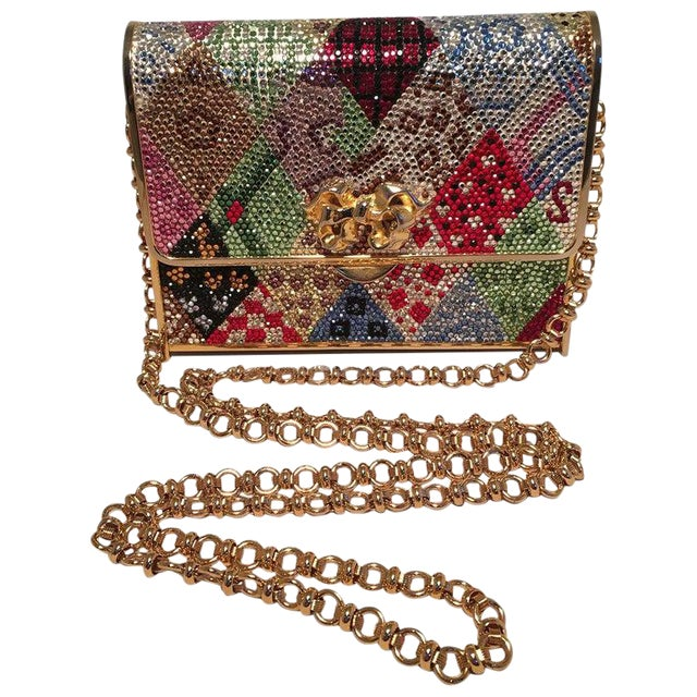 Judith Leiber Multicolor Swarovski Crystal Top Flap Box Minaudiere Evening Bag For Sale