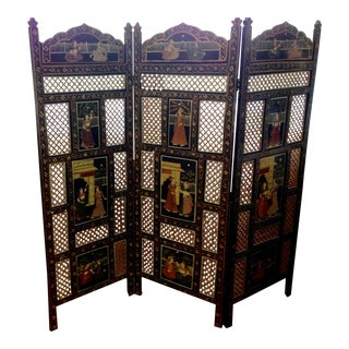 Indian Carved Painted 3-Panel Screen Room Divider For Sale