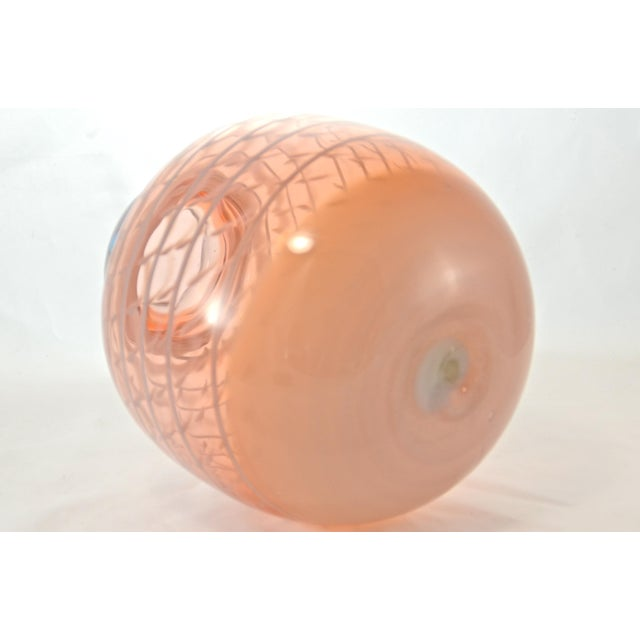 Pink Blown Art Glass Vase For Sale - Image 4 of 6
