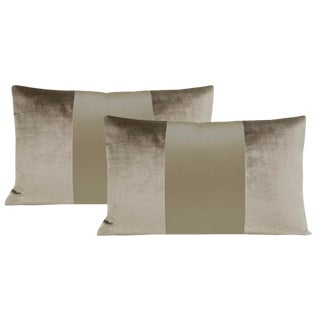 "12""x18"" Quartz Velvet & Silk Panel Lumbar Pillows - a Pair For Sale"