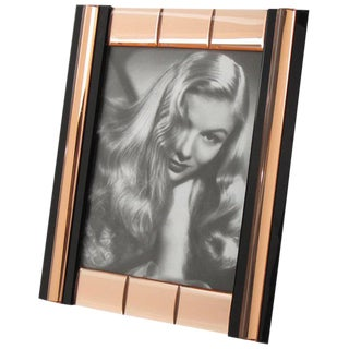 French Hollywood Regency Black and Copper Mirror Picture Photo Frame