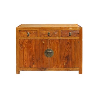 Chinese Distressed Drift Brown Sideboard Console Table Cabinet For Sale