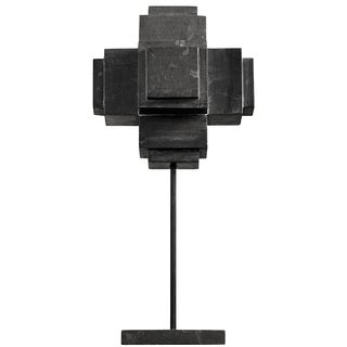 Cube on Stand, Black Marble For Sale