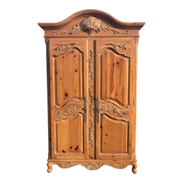 Ethan Allen Legacy Carved Country French Armoire For Sale