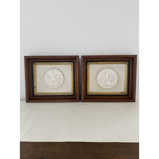 Antique Plaster Intaglio Plaque Framed in Antique Walnut and Gilt Frames - a Pair For Sale - Image 13 of 13