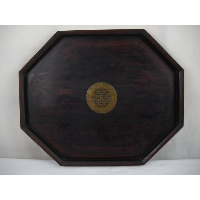 Asian Wood and Brass Serving Tray - Image 4 of 8