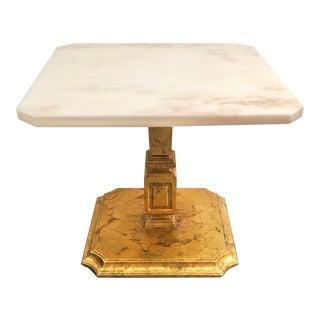Mid Century Italian Gilt Wood Marble Side Table For Sale