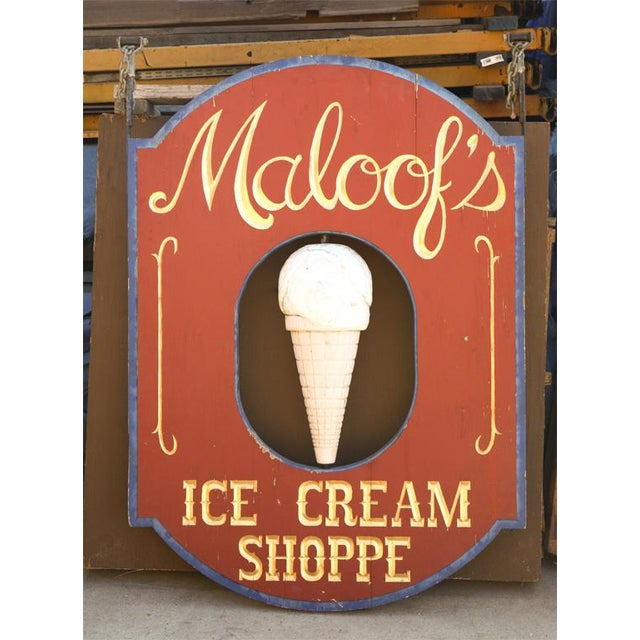 """Very Large """"Maloof's"""" Ice Cream Shop Sign For Sale - Image 4 of 7"""