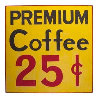 1940s Premium Coffee Sign For Sale