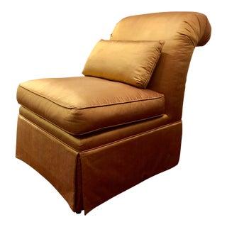 Modern Gold Silk Upholstered Slipper Chair For Sale