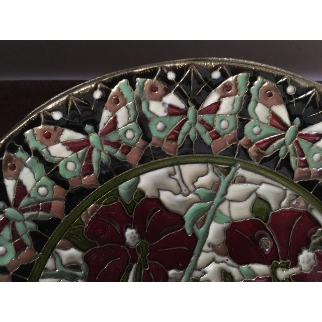 Hand Painted Floral Butterfly Cloisonné Decorative Plate For Sale - Image 5 of 11