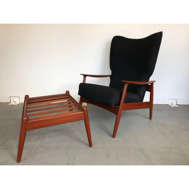 1960s Danish Modern Reclining Lounge Chair and Ottoman - 2 Pieces For Sale - Image 13 of 13