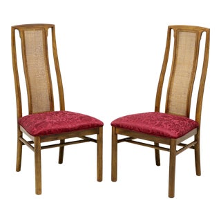 Drexel Heritage Campaign Style Dining Side Chairs W/ Caned Backs - Pair C For Sale