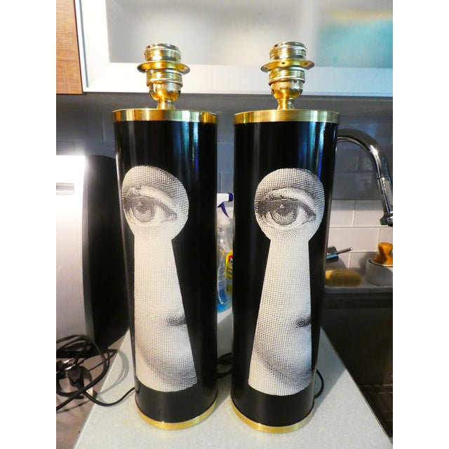 Vintage Large Fornasetti Julia Keyhole Lamps - a Pair For Sale - Image 9 of 9