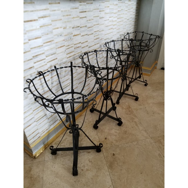 Mid-Century Wrought Iron Basket Planters - Set of 4 For Sale - Image 9 of 10