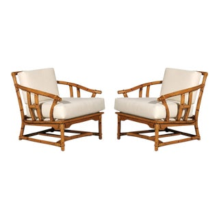 Superb Pair of Vintage Ficks Reed Lounge or Club Chairs For Sale