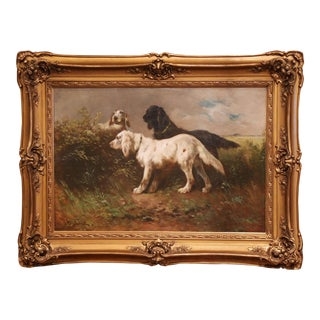 19th Century Oil on Canvas Dog Painting in Gilt Frame Signed H. Schouten