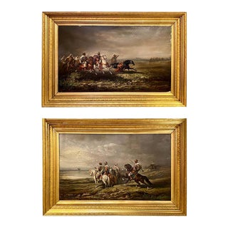 Pair of 19th Century Palatial Oil on Canvas Paintings Signed For Sale