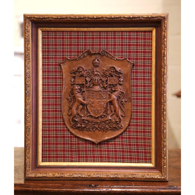 Red 19th Century French Carved Walnut Royal Coat of Arms of Canada in Gilt Frame For Sale - Image 8 of 8