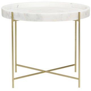 Chuy Side Table, Antique Brass, Metal and Stone For Sale